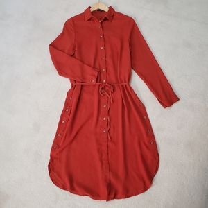 Goldie NWT Long Sleeve Red Belted Shirt Dress